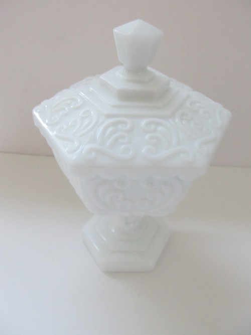 Hexagon Milk Glass Lidded Dish (2)