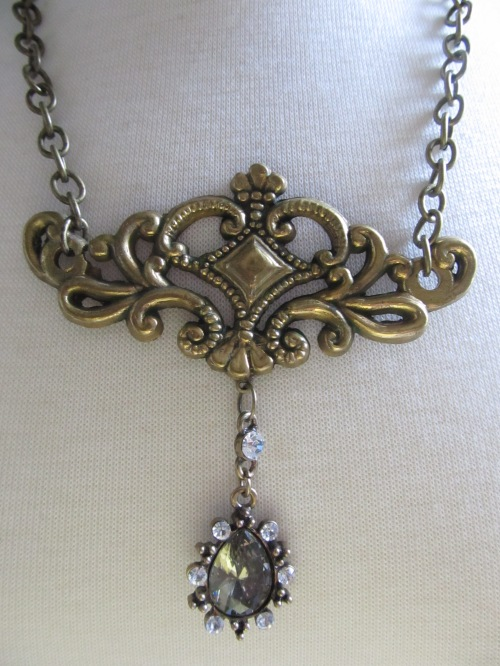 Scroll Hardware Necklace with Crystal Stone Drop (1)