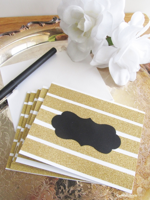 Glitter Stripe Notecards by ConfettiStyle2