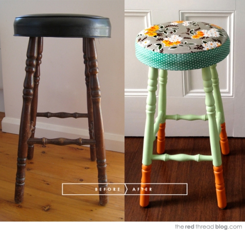 the-red-thread-stool-makeover-before-and-after